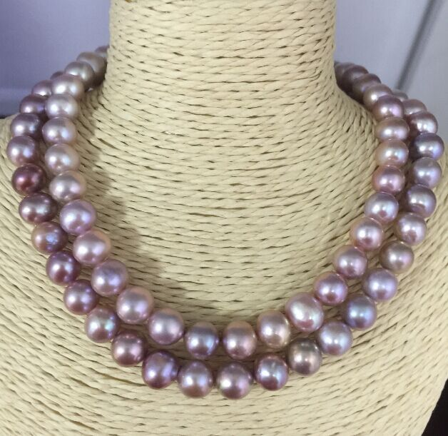 elegant 9-10mm round south sea lavender pearl necklace 38inch14kelegant 9-10mm round south sea lavender pearl necklace 38inch14k