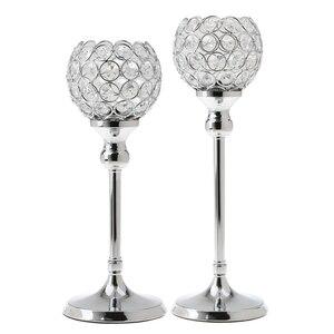 Image 2 - 2Pcs Stunning Metal Votive Tealight Crystal Candle Holder Wedding Decorative Centerpiece 35cm + 30cm Silver
