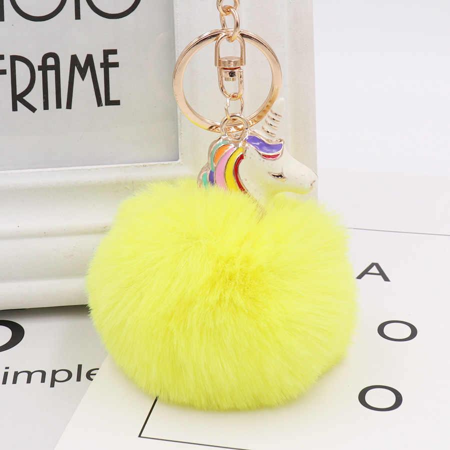 Bonito unicórnio chaveiro de pele de coelho fofo chaveiro pompom pele de coelho chaveiro artificial saco de carro feminino pingente grânulo