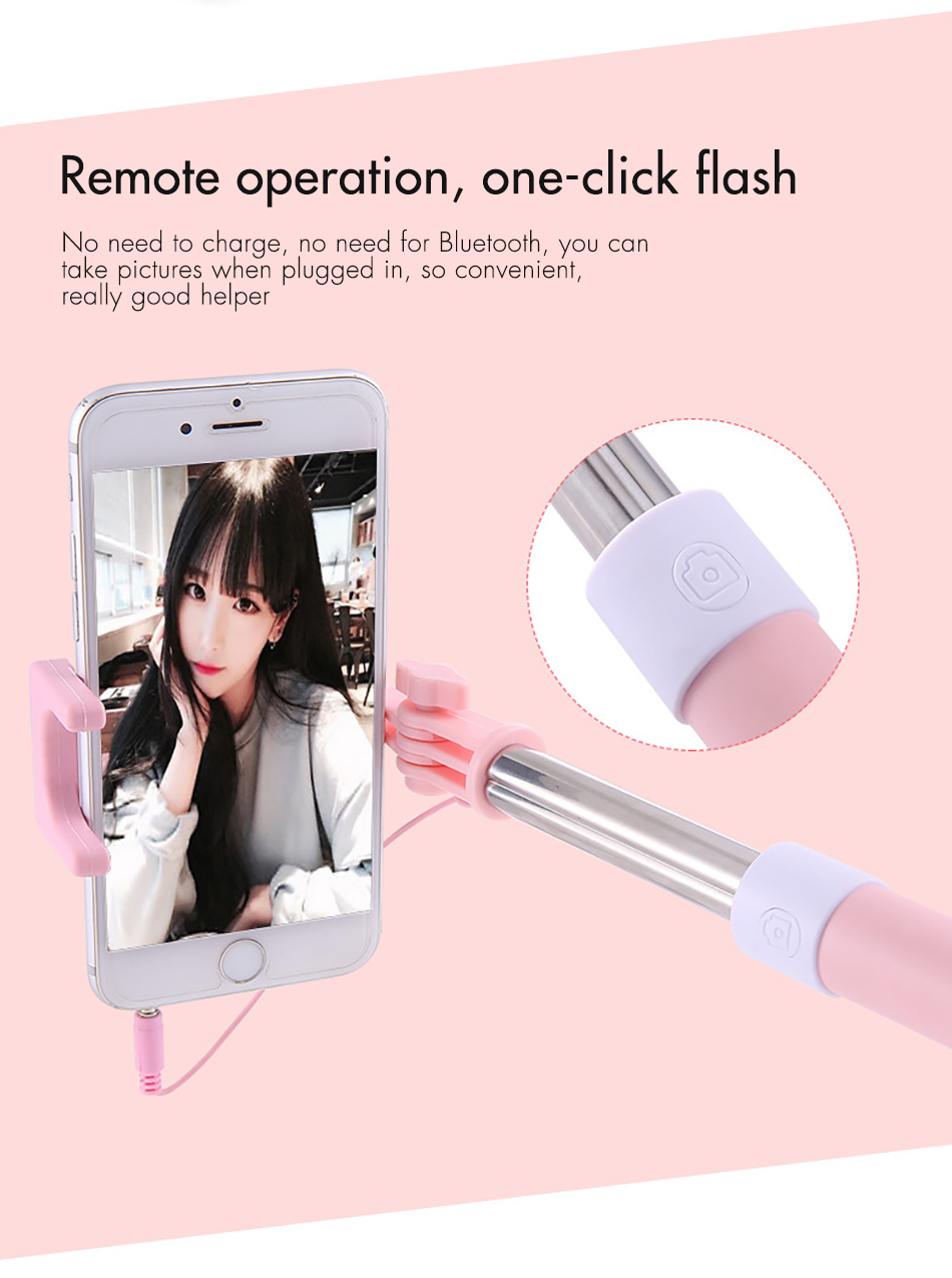 !ACCEZZ Mini Wired Selfie Stick IOS For iPhone X XR XS MAX 8 7 6 For Huawei Samsung Monopod Foldable Portable Selfiestick Mirror (9)