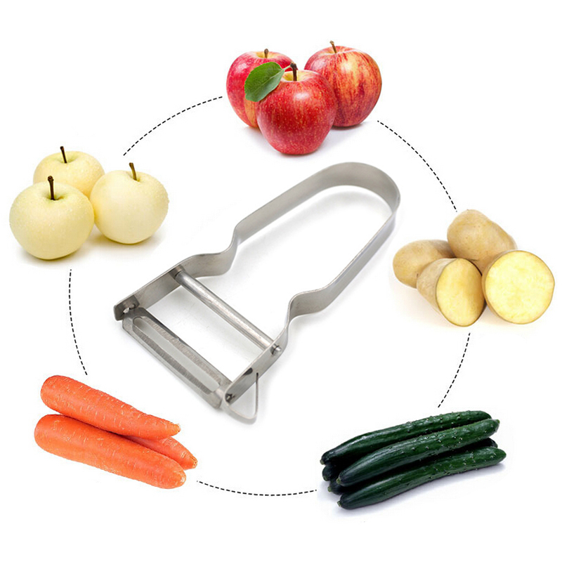 1 pcs Double Side Kitchen Gadget Vegetable Fruit Peeler Slicer Cutter Stainless
