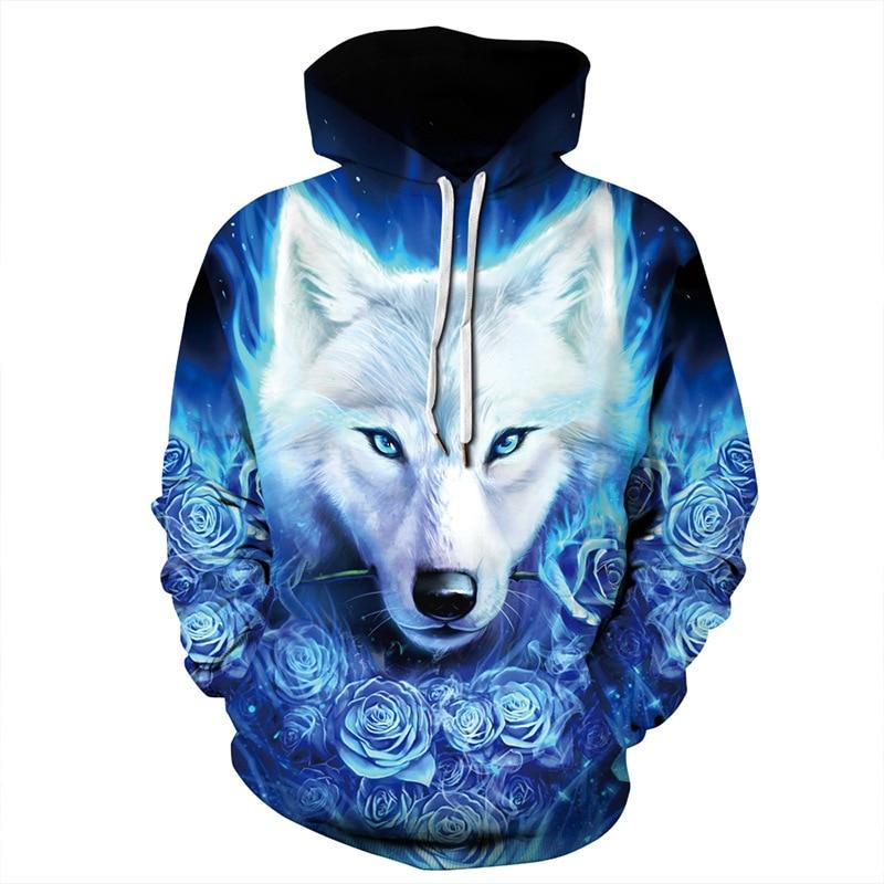 Cool Blue Roses White Wolf Head 3D Print Hoodies Men/Women Hip Hop Streetwear Sweatshirts Hat Boys Fashion Jacket Male Coat Tops