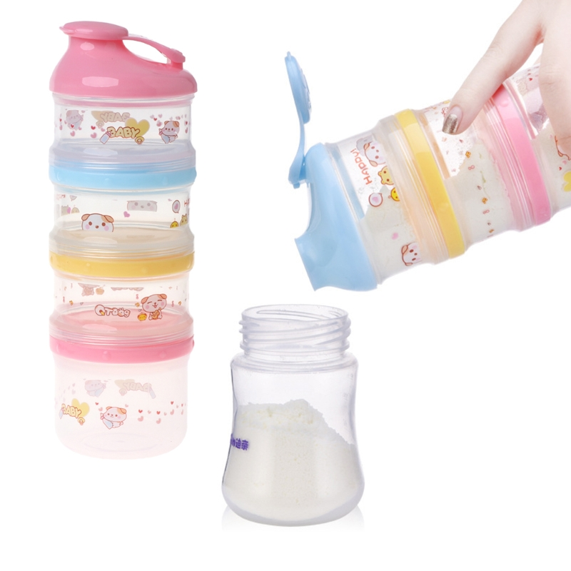 Baby Milk Powder Container Portable Formula Food Storage Cartoon 4 Layers Makeup