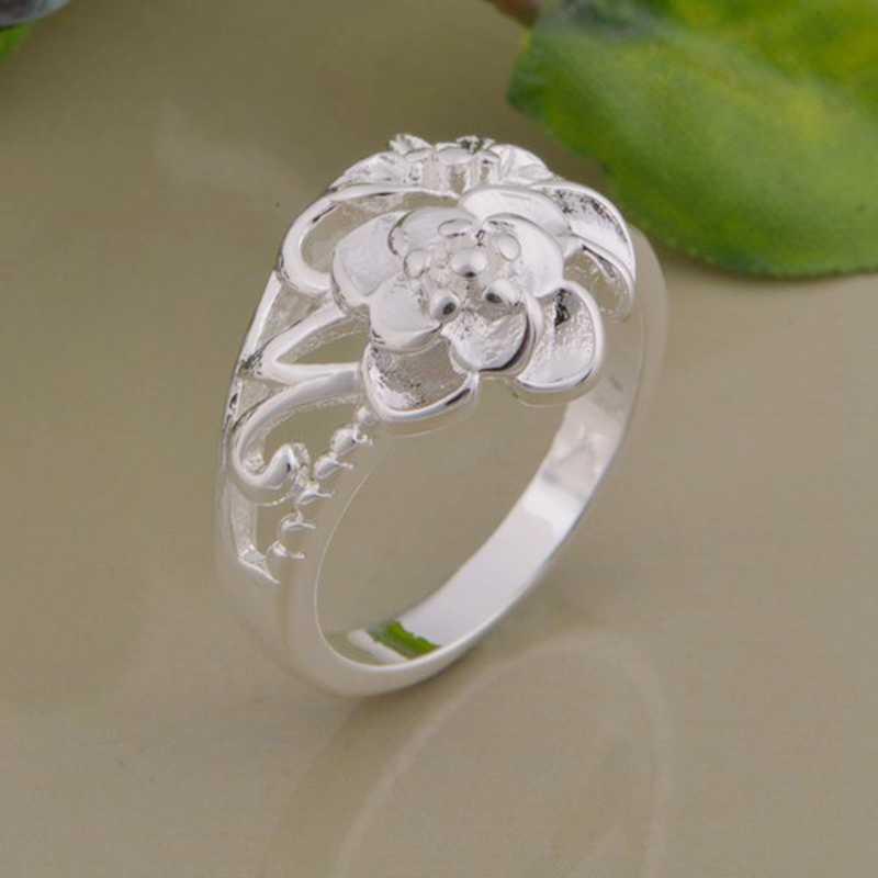 ดอกไม้ที่สวยงามละเอียดอ่อนแหวนเงินชุบเครื่องประดับแฟชั่นแหวนผู้หญิงและผู้ชาย,/aargjvhdukuanywl