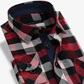 Caiziyijia 2017 otoño de los hombres jóvenes de manga larga camisa de franela a cuadros patrón de ajuste clásico comodidad suave mezcla de algodón casual camisas