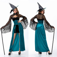 Deluxe Adult Womens Magic Moment Performances Dress Sexy Fancy Evil Witch Costume Halloween Party Scary Fancy dress