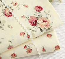 width 160CM*50CM Rustic 100% cotton bedding yellow rose fabric bedding bed sheet duvet cover handmade diy fabric tecido tissue(China)