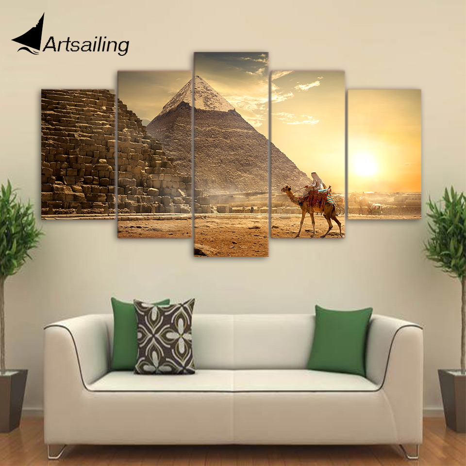 5 Piece HD Printed Ancient Egypt Pyramid Painting Pharaoh  Posters and Prints Wall Pictures for Home Decor Free shipping CU-2684 no frame canvas