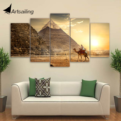 5 Piece HD Printed Ancient Egypt Pyramid Painting Pharaoh Posters and Prints Wall Pictures for Home Decor Free shipping CU-2684
