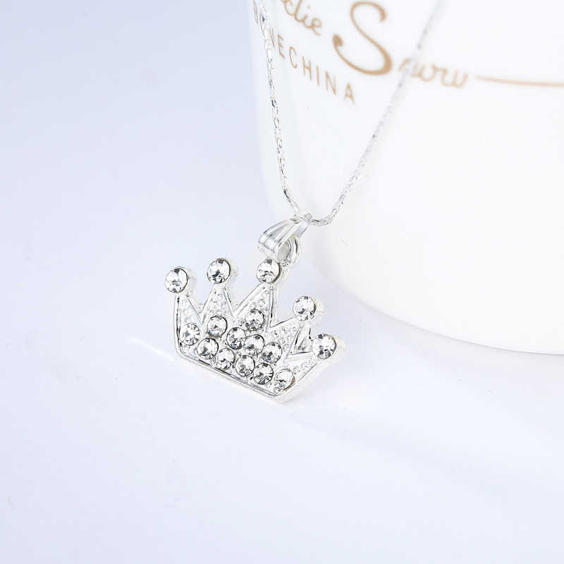 Ufavoirte New Fashion Jewelry Silver Crystal Crown choker pendant necklace Women/Girl lover Valentine's Day gifts Bijoux