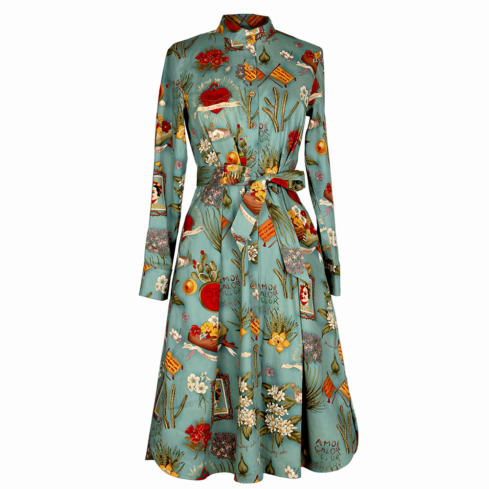 30 Women Vintage 50s Blue Frida Kahlo Long Sleeve Belted Mid Shirt Dress Plus Size Vestidos Rockabilly Pinup Robe Hiver Dresses In From S