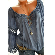 цены на large size Women's Blouse 2019 summer lace shirt V-Neck lace tie blouse long sleeve shirt S-5XL  в интернет-магазинах