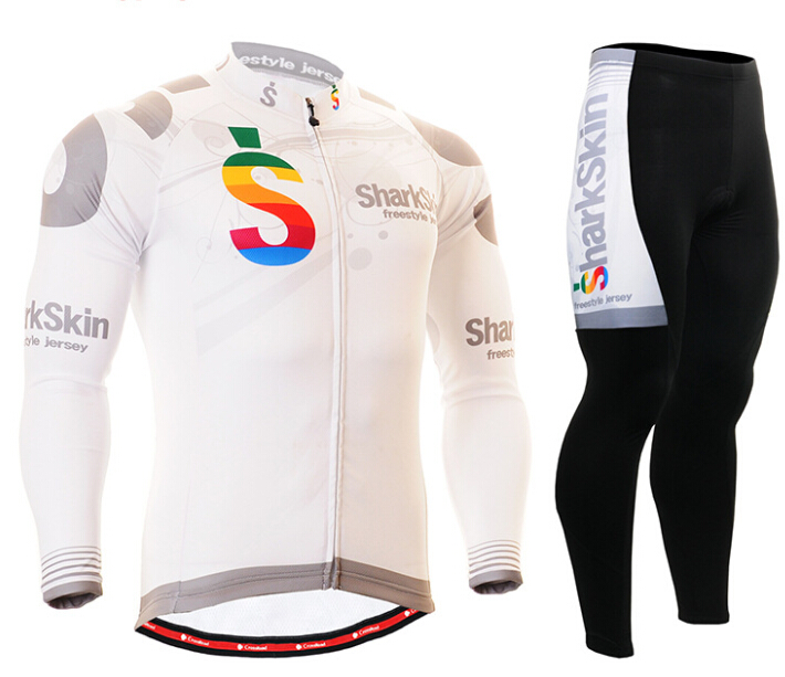 Mens Autumn Long Cycling Jerseys Set Quick-dry Breathable Bike Clothings Gel Pad White Shark Skin Freestyle Ciclismo 2016 couple long sleeve bike riding jerseys sets quick dry gel breathable pad stretchable 3d cutting cycling clothing equipment