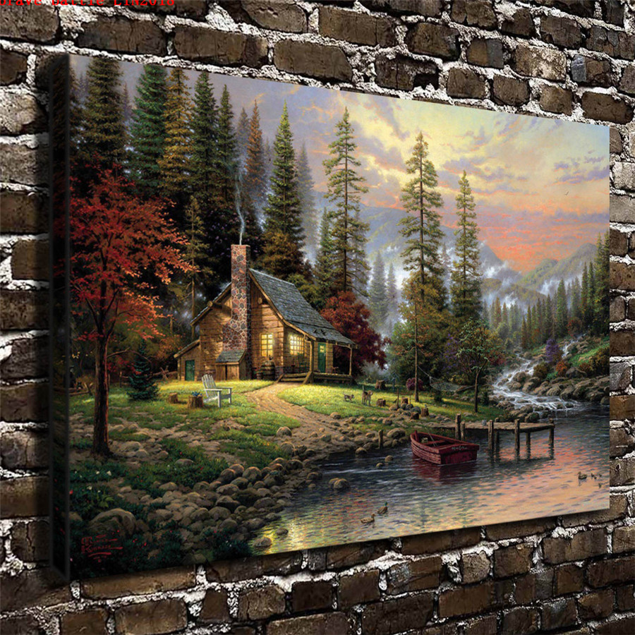 Thomas kinkade a peaceful retreat canvas painting print - Home interiors thomas kinkade prints ...