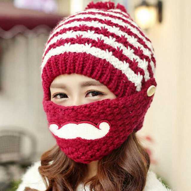 Winter Cute Warm Ear Face Mask Wool Hat Mouth Mask Beanies Knit