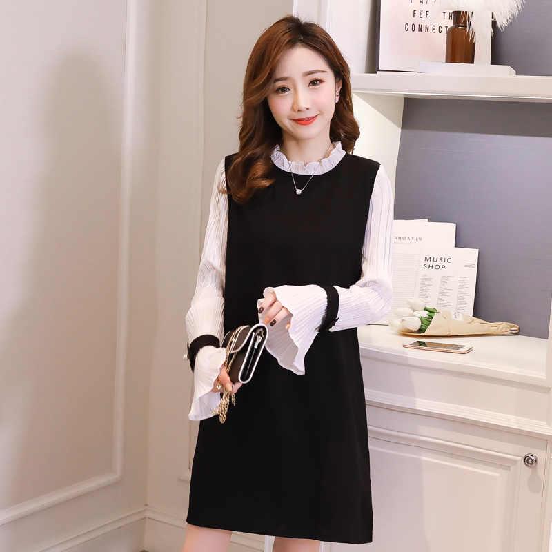 e044f9fe215c3 ... Pengpious 2019 autumn maternity clothes Korean style sweet pregnant  women dress office lady elegant dress pleated ...