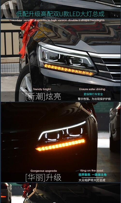 Free Shipping 1 Set HID Hi/Lo Beams Bixenon Headlight Assembly With LED DRLs For Volkswagen VW Passat 2016+ Car, Plug & Play