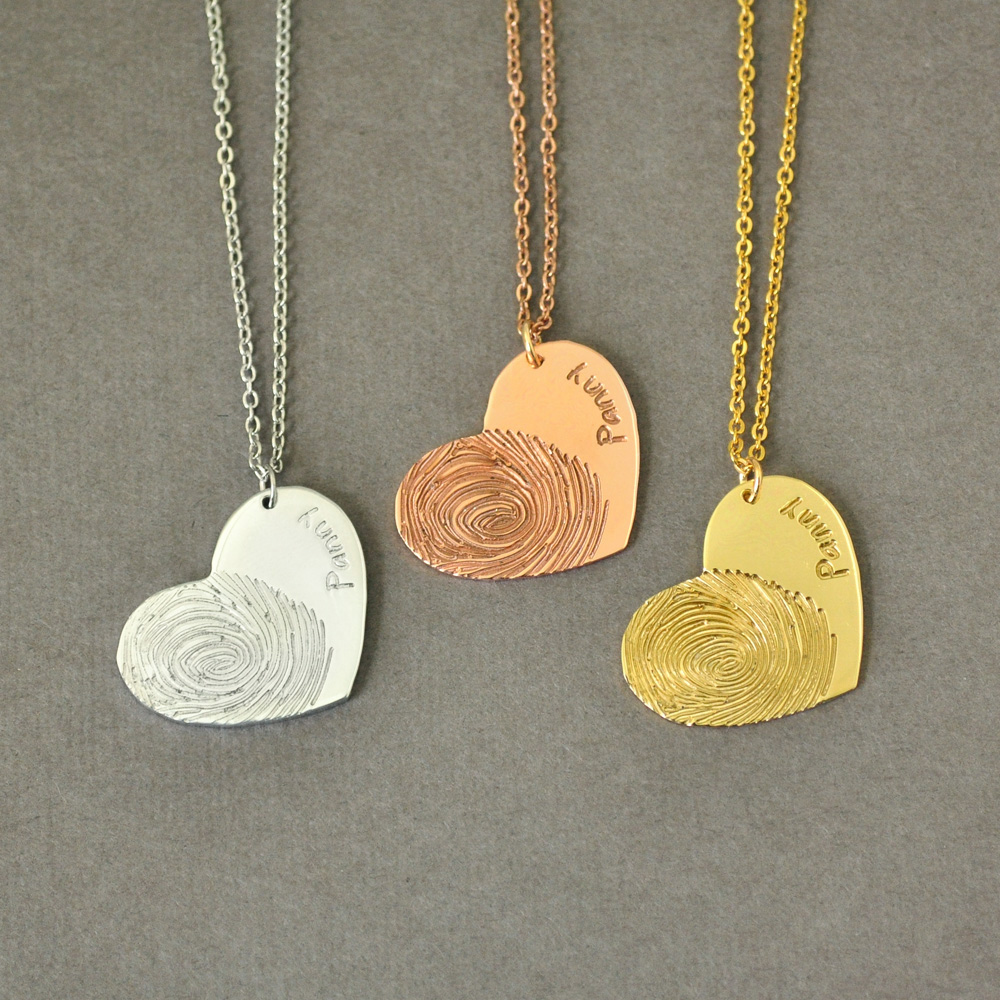Personalized Fingerprint Necklace Name Necklace Heart