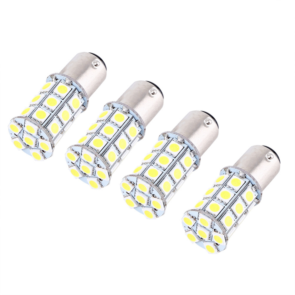 4 Pcs 12V 1157 BAY15D 5050 27 SMD High Power LED Car Brake Light Bulb Stop Lamp White merdia 1157 22 x smd 1206 led blue light car brake backup light 2 pcs