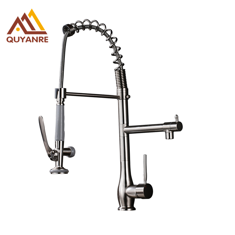 Brass Brushed Nickle Bathroom Kitchen Sink Faucet Pull Down Spring Hot and Cold Mixer Faucet