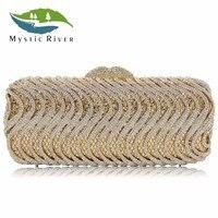 Mystic River Women Purse Fashion Luxury Crystal Bridal Clutch Bag White Gold Wedding Shoulder Lady Evening