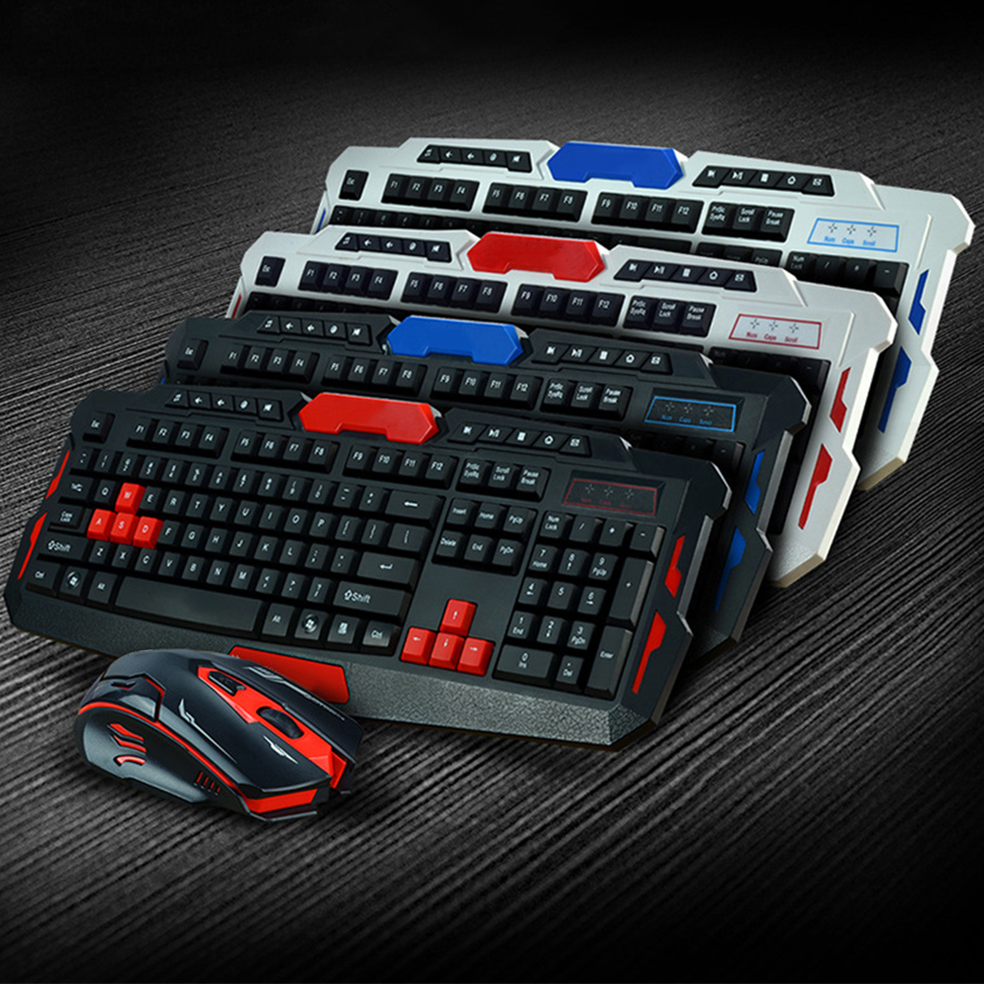 NOYOKERE Wireless Keyboard Mouse Set USB 2.4Ghz 1600DPI Gaming Gamer Mice Multimedia Waterproof for Computer PC desktop