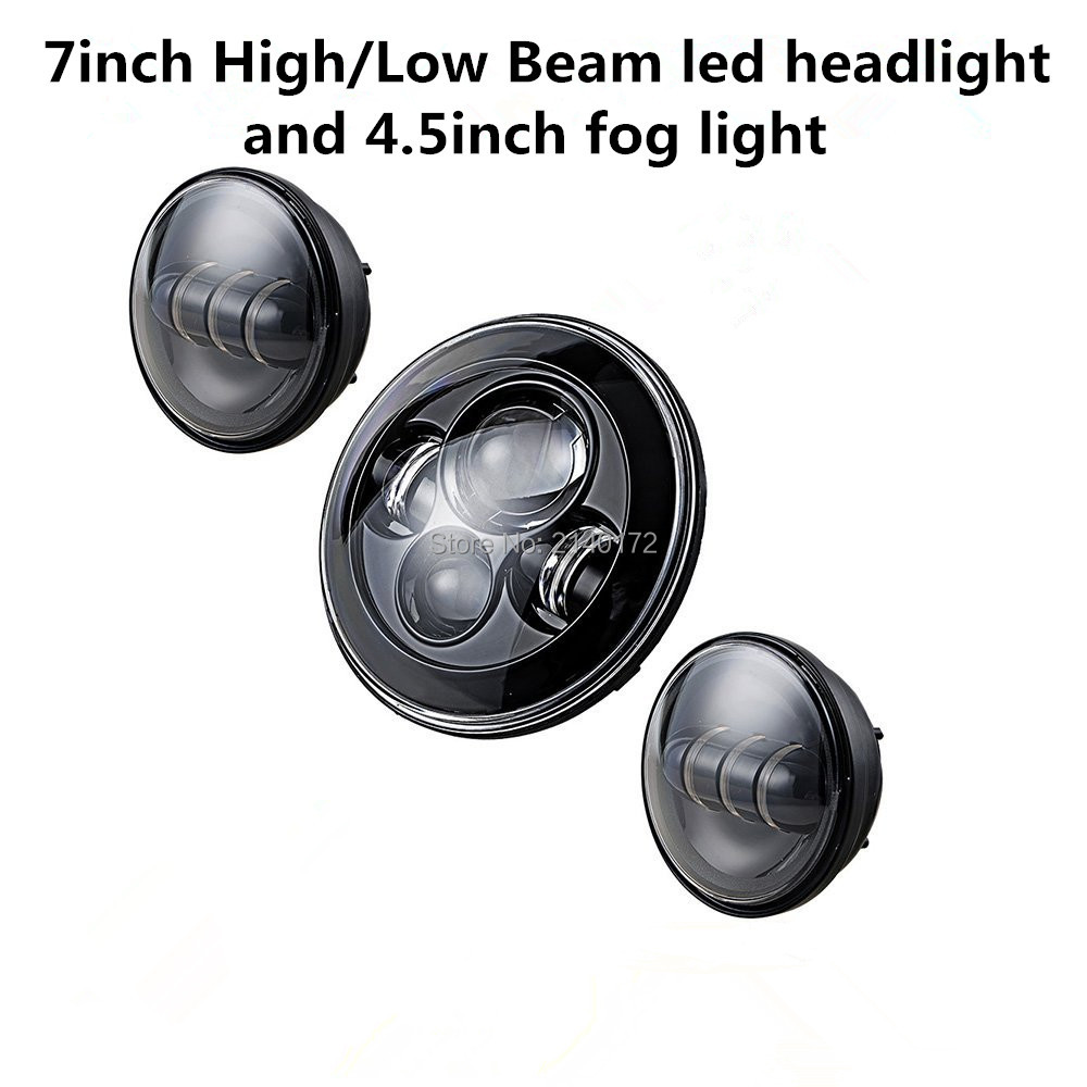 7INCH Waterproof Black Harley Daymaker LED Headlight + 4-1/2'' fog light passing lamps for Harley Motorcycle 4 5 inch led fog lamps passing light for harley davidson motorcycles auxiliary light bulb daymaker projector light 2 pcs