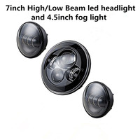 7INCH Waterproof Black Harley Daymaker LED Headlight + 4 1/2'' fog light passing lamps for Harley Motorcycle