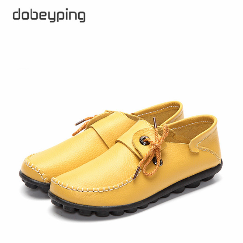 2017 Autumn New Style Cow Leather Women's Casual Shoes Moccasins Female Flats Shoe Lace-Up Woman Loafers Driving Shoe Size 35-43