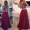 Envío rápido de la mujer top de encaje de noche largo dress borgoña rojo elegante Vestido De Festa Longo Vestidos de Fiesta Baratos 2017 con perla