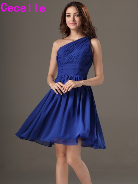 1b5b41368a Simple Short One Shoulder Royal Blue Beach Bridesmaid Dresses With Straps  A-line Knee Length