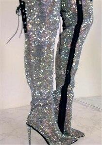 Image 2 - Женские ботфорты с острым носком, на тонком каблуке, украшенные стразами