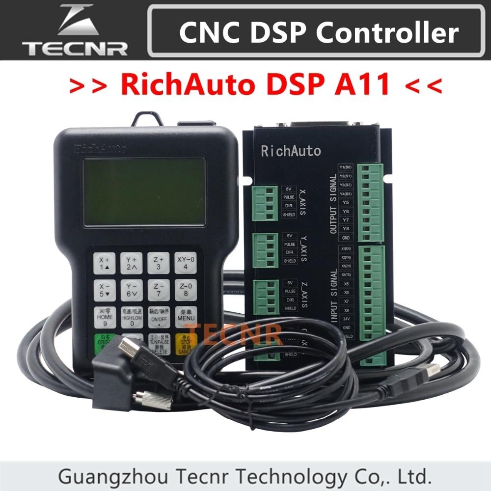 RichAuto DSP A11 CNC valdiklis A11S A11E 3 ašių judesio valdiklis nuotolinis skirtas CNC graviravimui ir pjaustymui TECNR