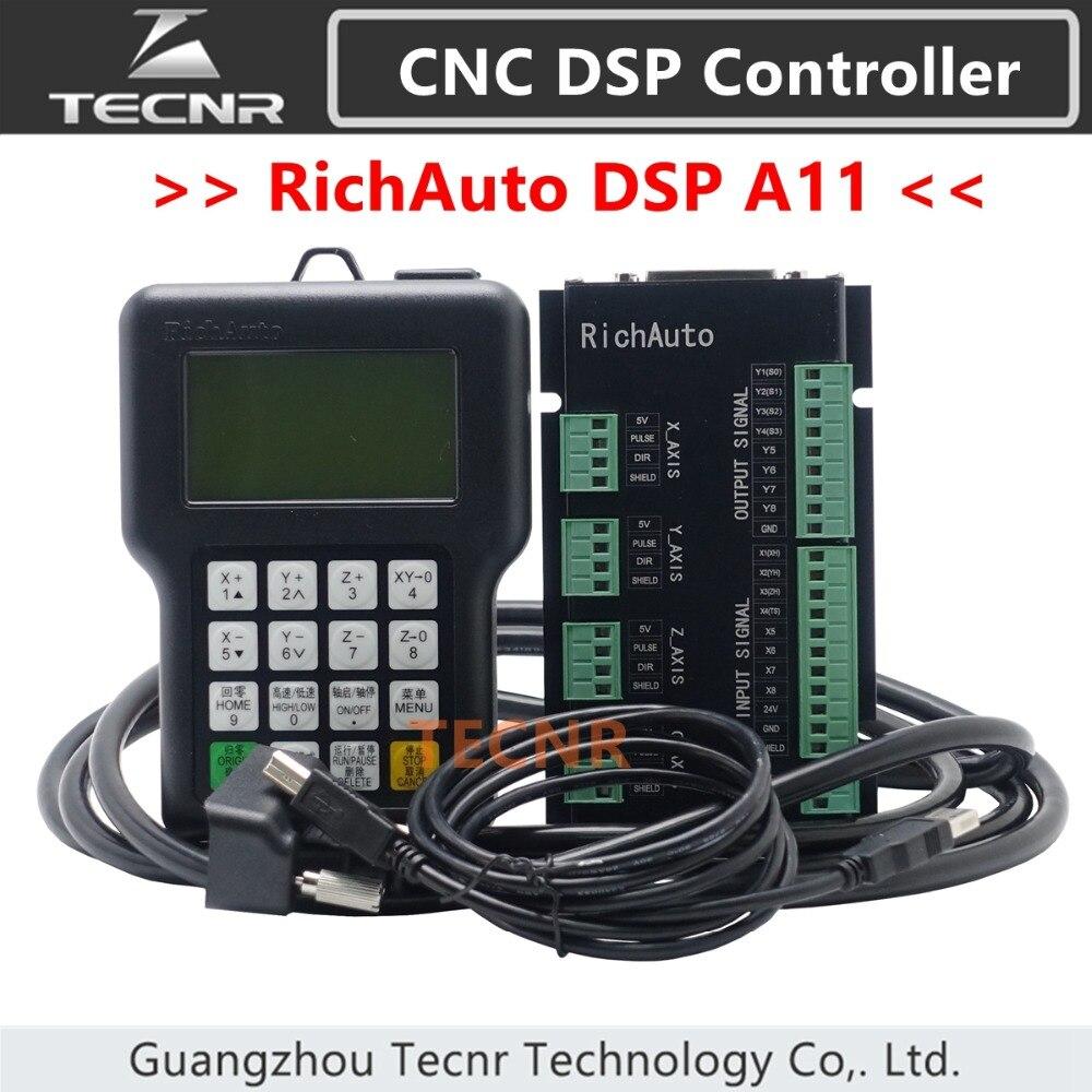 Tecnr richauto dsp a11 controlador cnc a11s a11e 3 eixos controle de movimento remoto para cnc gravura e corte versão em inglês