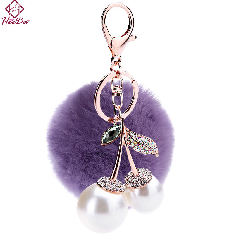 Heeda Elegant Pearl Cherry Pompon Pendant Keychain 2018 Fashion Trend Purple Blue Keyring Hot-selling Bag Car Phone Hanging Drop