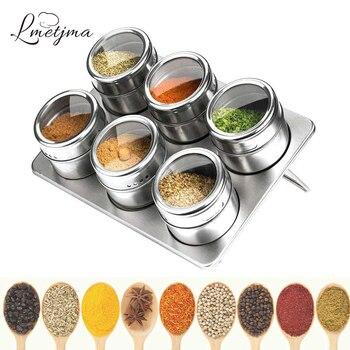 LMETJMA Magnetic Spice Jars with Rack 304 Stainless Steel Tins Storage Jar Pepper Seasoning Shakers