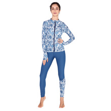 The new Bora SABOLAY shark fast dry cardigan sunscreen clothing split long sleeved women's Surf wear diving suits V709