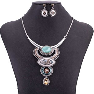 Image 1 - MS1505054 Vintage Jewelry Sets Blue Red Color Antique Silver Plated High Quality Necklace Earrings Set Tibet Design