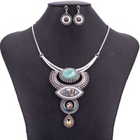 MS1505054 Vintage Jewelry Sets Blue Red Color Antique Silver Plated High Quality Necklace Earrings Set Tibet Design