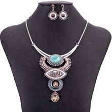 MS1505054 خمر مجوهرات مجموعات الأزرق الأحمر اللون العتيقة الفضة مطلي عالية الجودة قلادة طقم من الحلقان التبت تصميم