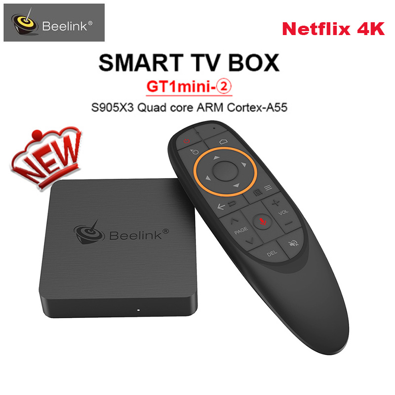 Beelink GT1 mini-2 Smart TV Box prend en charge Netflix 4K IPTV Amlogic S905X3 Android 9.0 4GB 64G commande vocale 5G WiFi Google Play Box