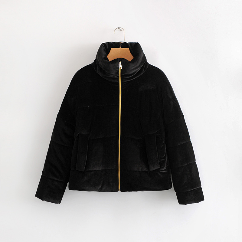 Vintage Black   Parkas   Winter Women Thick Warm Cotton Padded Coat Office Ladies Elegant Simple Jacket Casual Feminine
