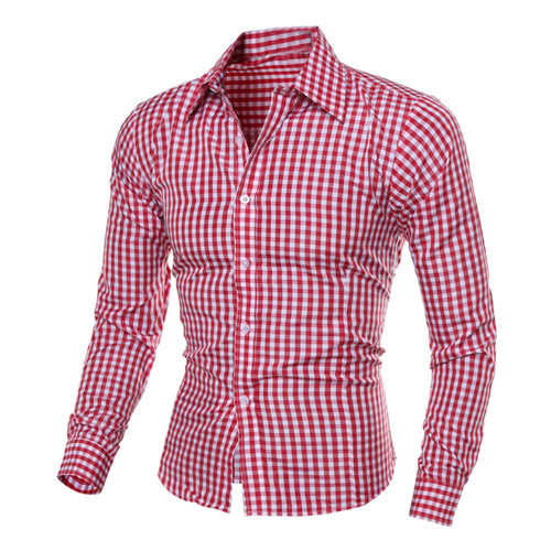 1 Pc Neue Marke Männlichen Mode Luxus Tops Business Langarm-shirt Bluse Schlanke Revers Männer Fit Plaid Tops Shirt Hx0410 Moderater Preis