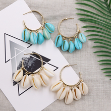 Cowrie Shell Hoop Earrings for Women Summer Beach Earring Handmade Charm Hoops Fashion Jewelry 2019 Pendientes Concha