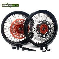 BIKINGBOY SX SXF EXC MXC SXS XC W 3.5 5.0 / 4.5 / 4.25 17 Supermoto Front Rear Wheel Rim Hub Brake Disks Bracket Sprocket Screw