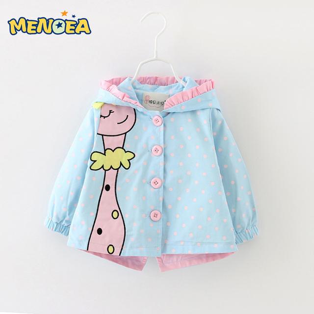 Menoea 2017 outono nova moda bebê menina casacos casacos casacos com capuz dots clothing roupas bebê dos desenhos animados crianças casacos & coats