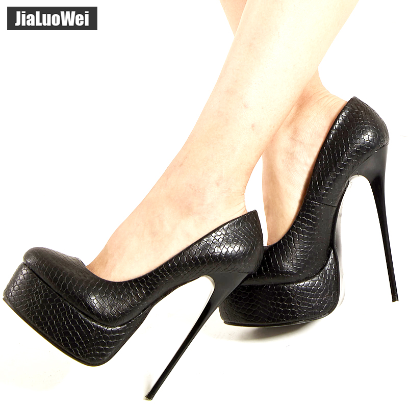 jialuowei Women Platform Pumps <font><b>Fetish</b></font> <font><b>Extreme</b></font> <font><b>High</b></font> <font><b>Heels</b></font> 16cm Stiletto Thin <font><b>Heel</b></font> <font><b>Sexy</b></font> Pumps Snake Print Slip-On Dance <font><b>Shoes</b></font> image