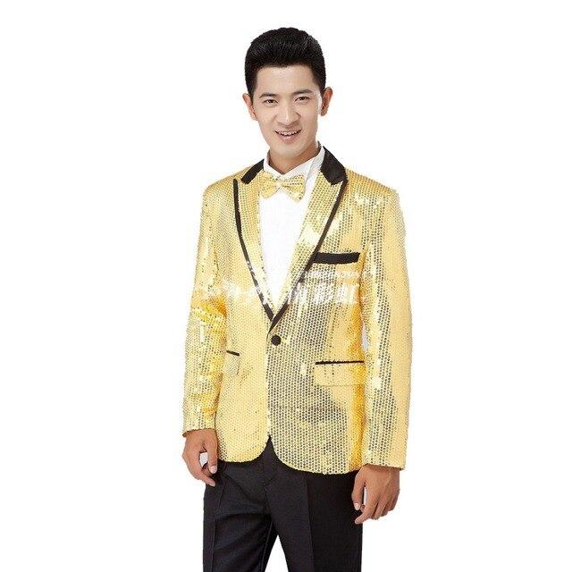 (Jacket+Pants) Paillette male master Sequins Stage Costumes Men Suit MC  Host Clothing c42a4f414054