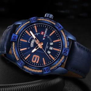 Image 5 - NAVIFORCE reloj deportivo de cuarzo para hombre, resistente al agua, de cuero genuino, fecha, semana, masculino