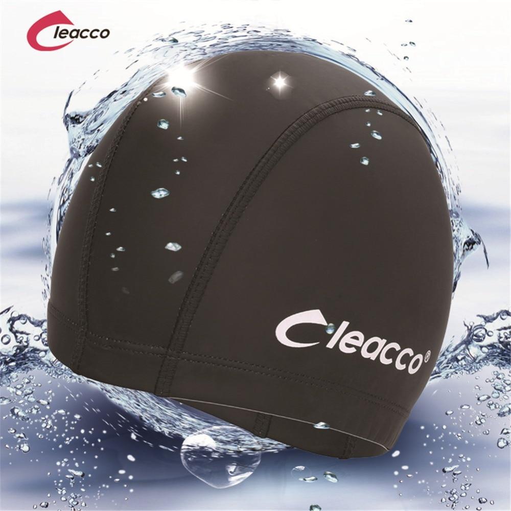 2017 New Elastic Waterproof PU Fabric Protect Ears Long Hair Sports Swim Pool Hat Swimming Cap Free size for Men & Women Adults